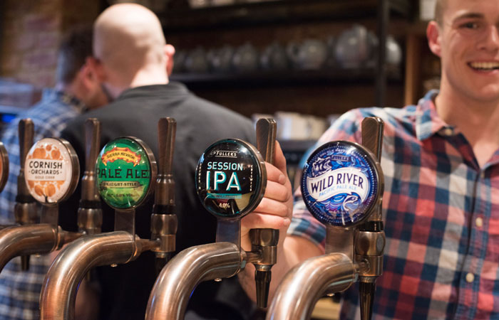 Craft beer on draught at the anglers pub and restaurant teddington
