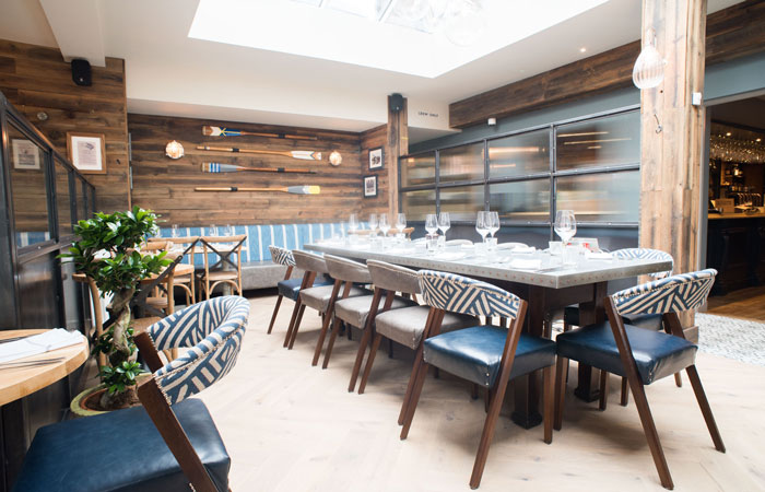 Dining room at the anglers pub and restaurant teddington