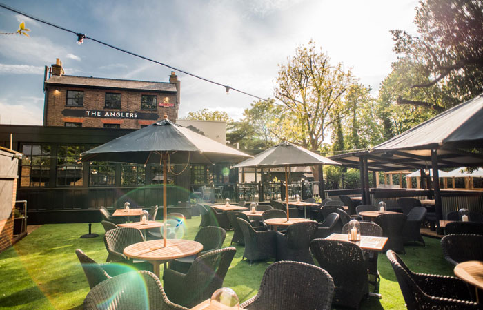 New garden bar at the anglers pub and restaurant teddington