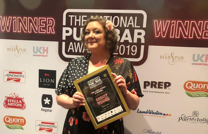 The Lock, Stock & Barrel Manager Sonya Mifflin with award at the 2019 National Pub and Bar Awards