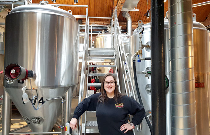 Fuller's brewer Hayley Marlor in brewery