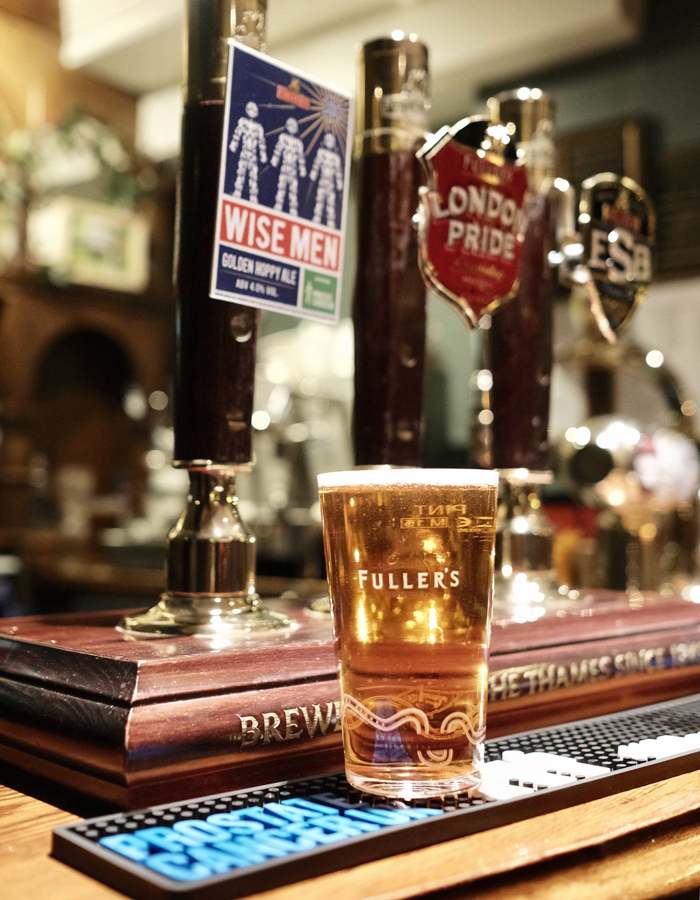 A pint of Fuller's Wise Men cask ale, brewed to fundraise for Prostate Cancer UK.