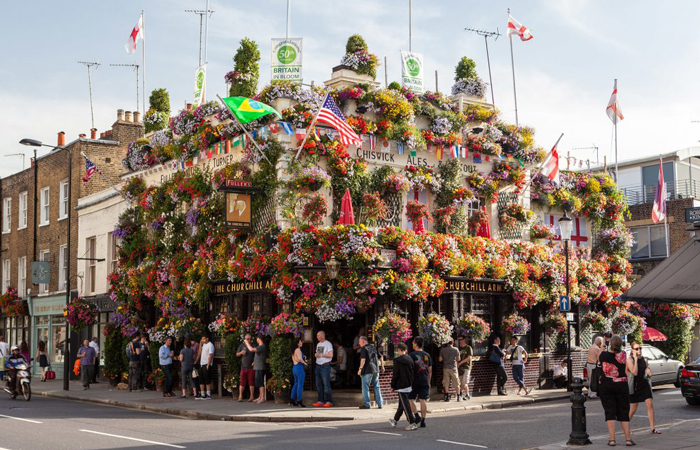 Fuller's The Churchill Arms, London, amazing flower display