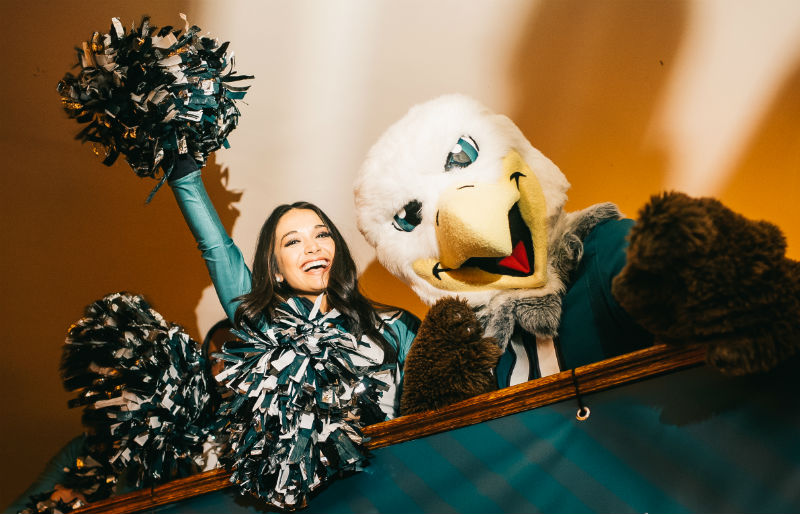 eagles mascot and cheerleader in london for nfl