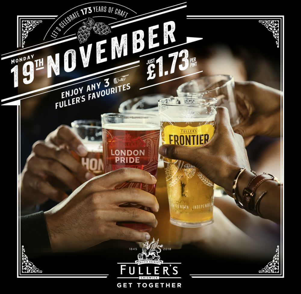 fuller's get together £1.73 pints for 173 years of business in UK