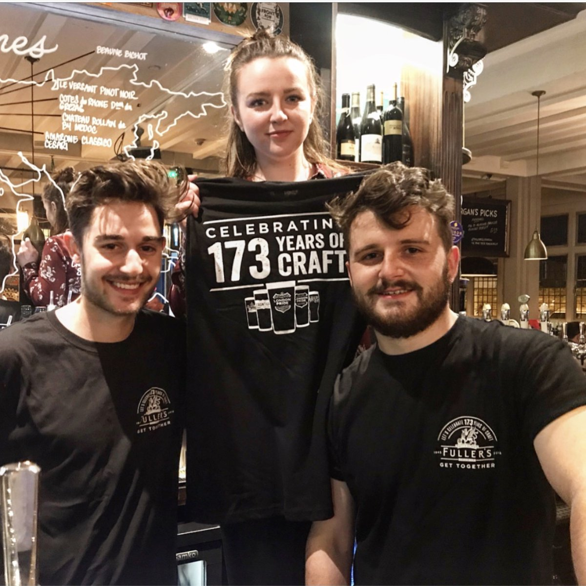 Team members from The Plough in Ealing wear their Fuller's 173 years of craft t-shirts for the Get Together.