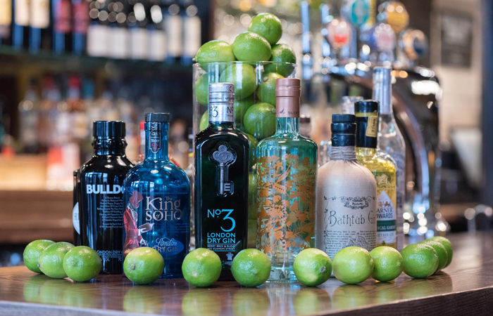 Gin range at The Limehouse Bar and Restaurant Canary Wharf