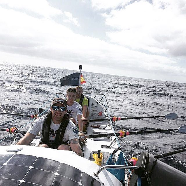 Men of oar team rowing during talisker whisky atlantic challenge