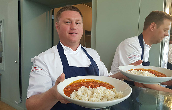 fullers chefs at stcuthberts drop in centre serving lunch