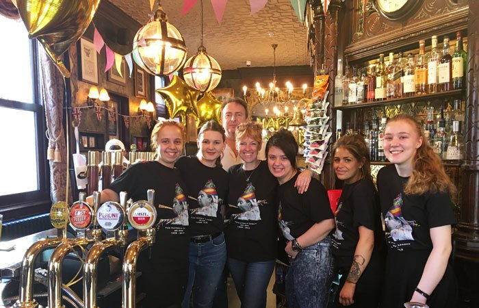 the victoria pub team celebrates 180 years with a party